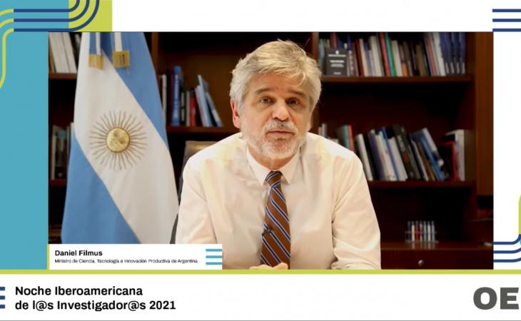 Noche Iberoamericana de l@s Investigador@s 2021,  Ministerio de Ciencia, Tecnología e Innovación Producctiva de Argentina,   Daniel Filmus.